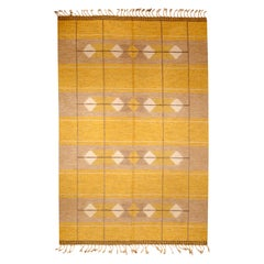 Vintage Swedish Yellow Flat-Weave Wool Rug