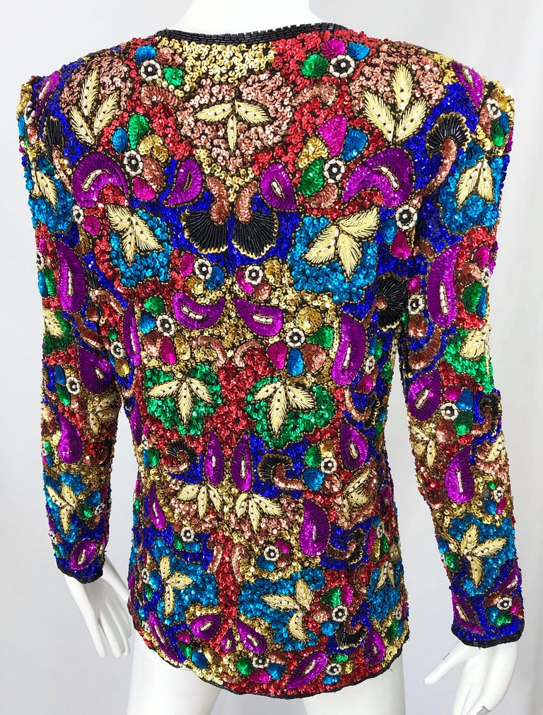 Vintage Swee Lo 1990s Fully Sequined Stained Glass Beaded Vintage Silk Jacket  For Sale 5