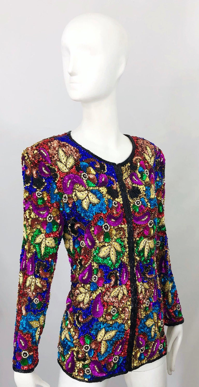 Vintage Swee Lo 1990s Fully Sequined Stained Glass Beaded Vintage Silk Jacket  For Sale 6