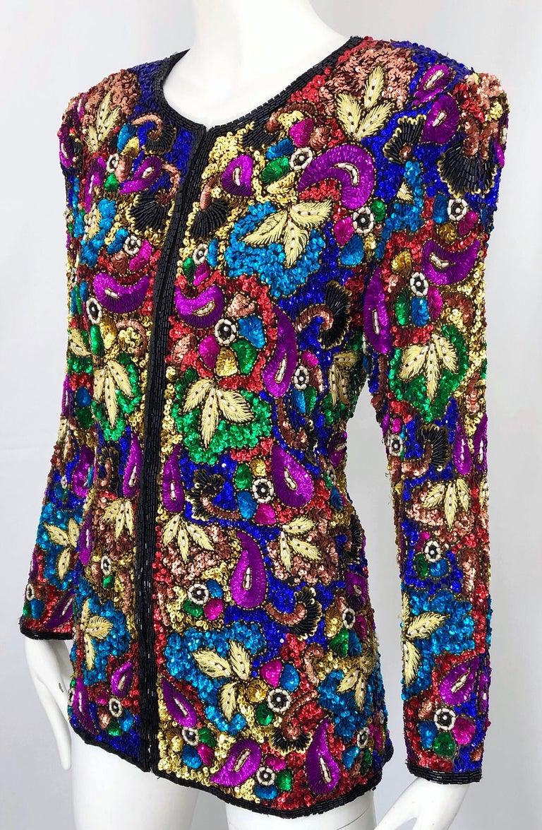 Vintage Swee Lo 1990s Fully Sequined Stained Glass Beaded Vintage Silk Jacket  For Sale 7