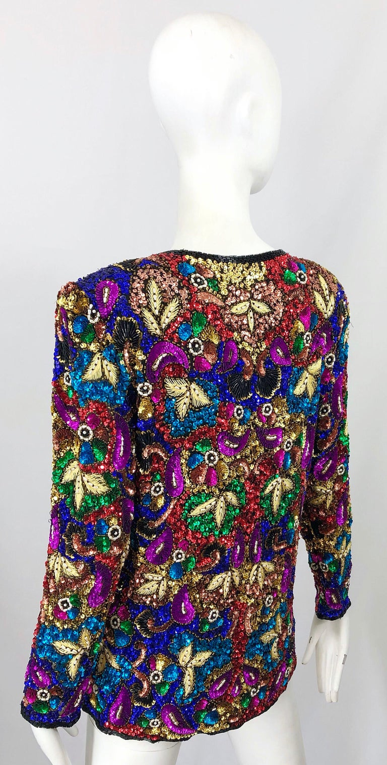 Vintage Swee Lo 1990s Fully Sequined Stained Glass Beaded Vintage Silk Jacket  For Sale 9