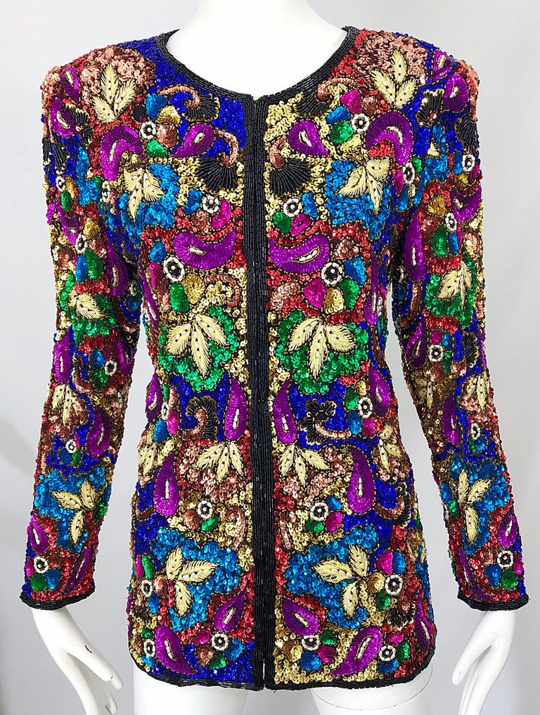Vintage Swee Lo 1990s Fully Sequined Stained Glass Beaded Vintage Silk Jacket  For Sale 10