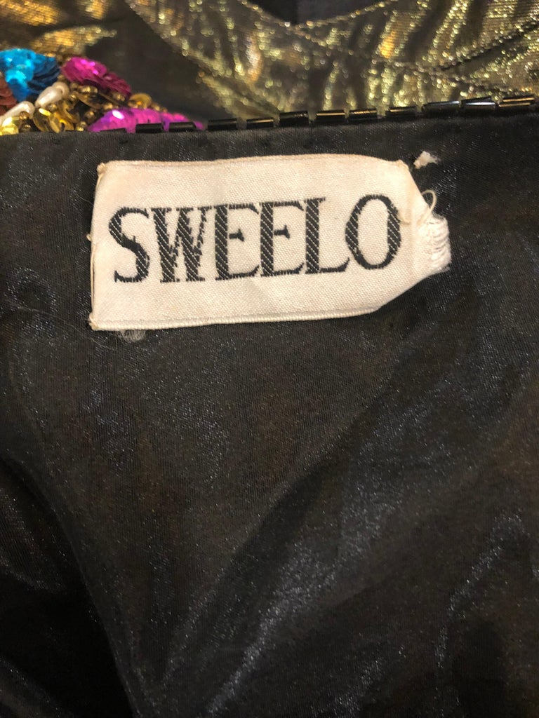 Vintage Swee Lo 1990s Fully Sequined Stained Glass Beaded Vintage Silk Jacket  For Sale 11