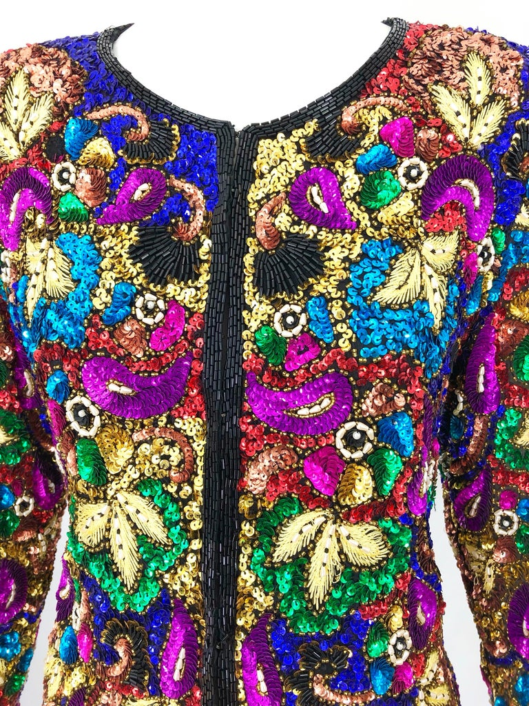 Black Vintage Swee Lo 1990s Fully Sequined Stained Glass Beaded Vintage Silk Jacket  For Sale
