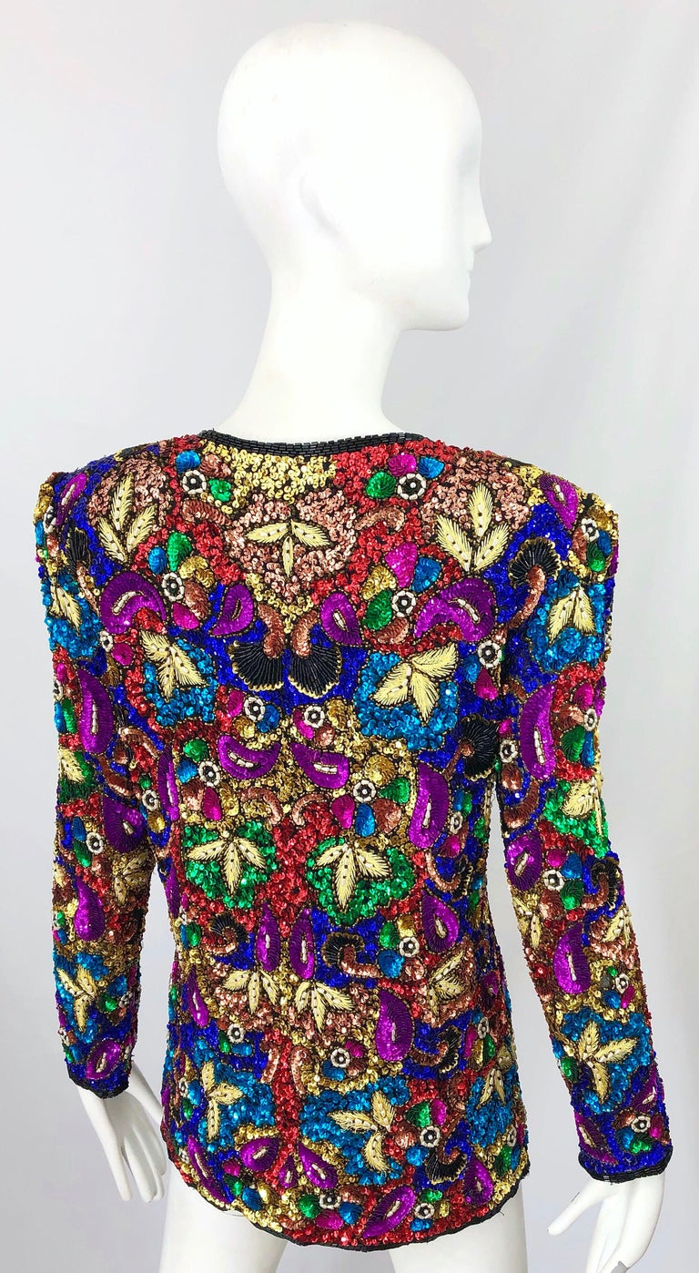 Vintage Swee Lo 1990s Fully Sequined Stained Glass Beaded Vintage Silk Jacket  In Excellent Condition For Sale In Chicago, IL