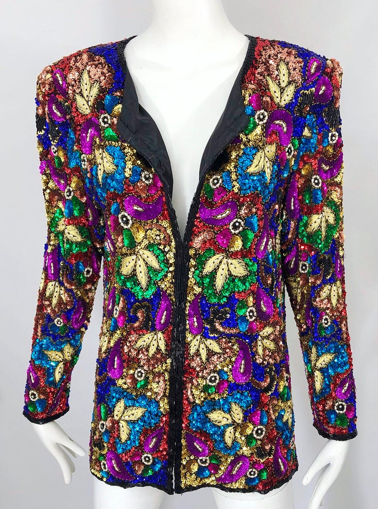 Women's Vintage Swee Lo 1990s Fully Sequined Stained Glass Beaded Vintage Silk Jacket  For Sale