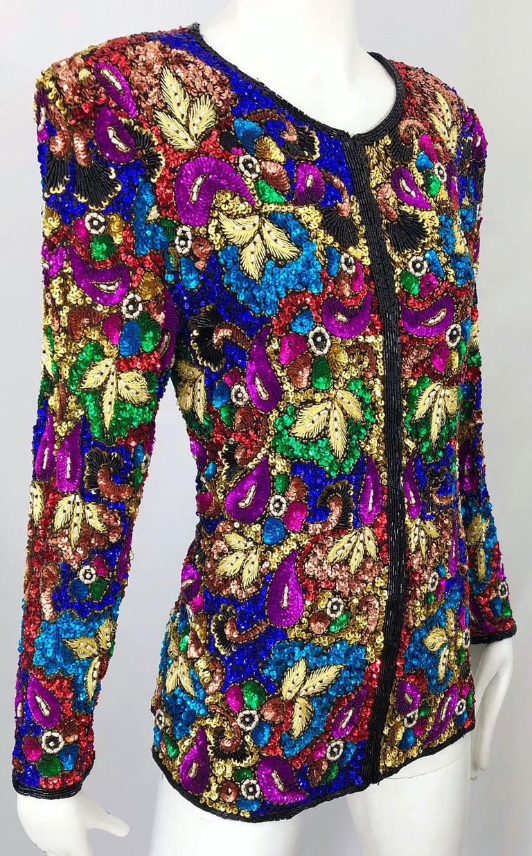 Vintage Swee Lo 1990s Fully Sequined Stained Glass Beaded Vintage Silk Jacket  For Sale 1