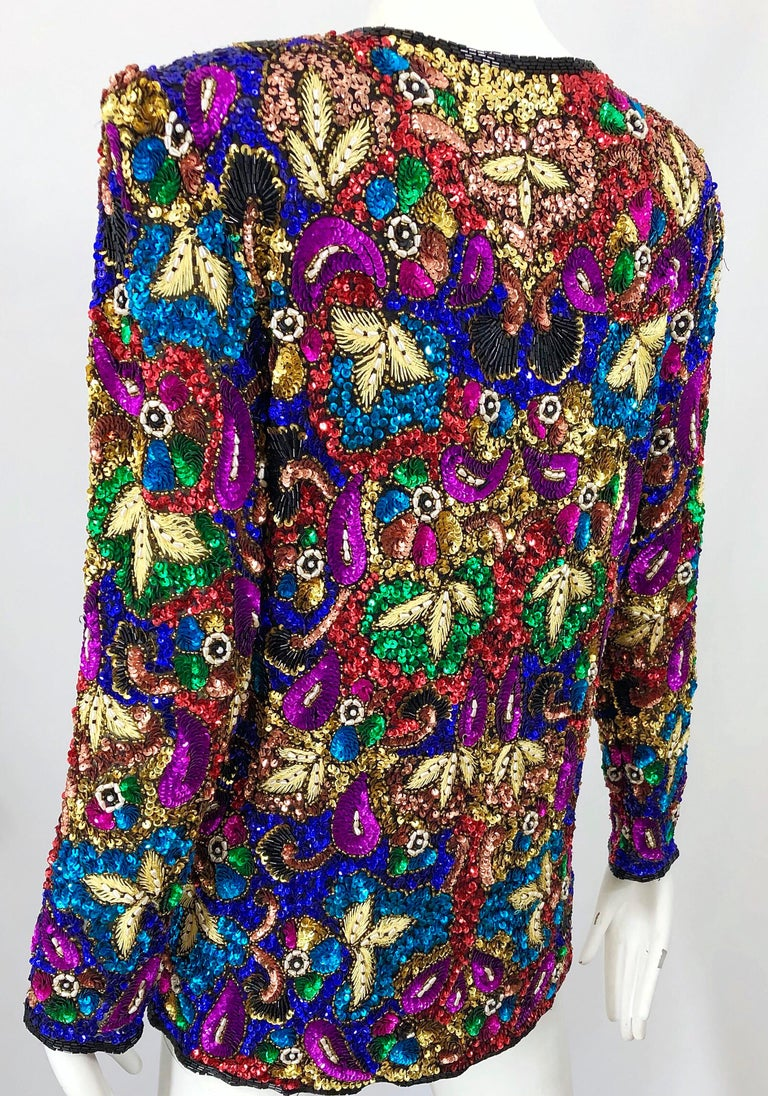 Vintage Swee Lo 1990s Fully Sequined Stained Glass Beaded Vintage Silk Jacket  For Sale 3