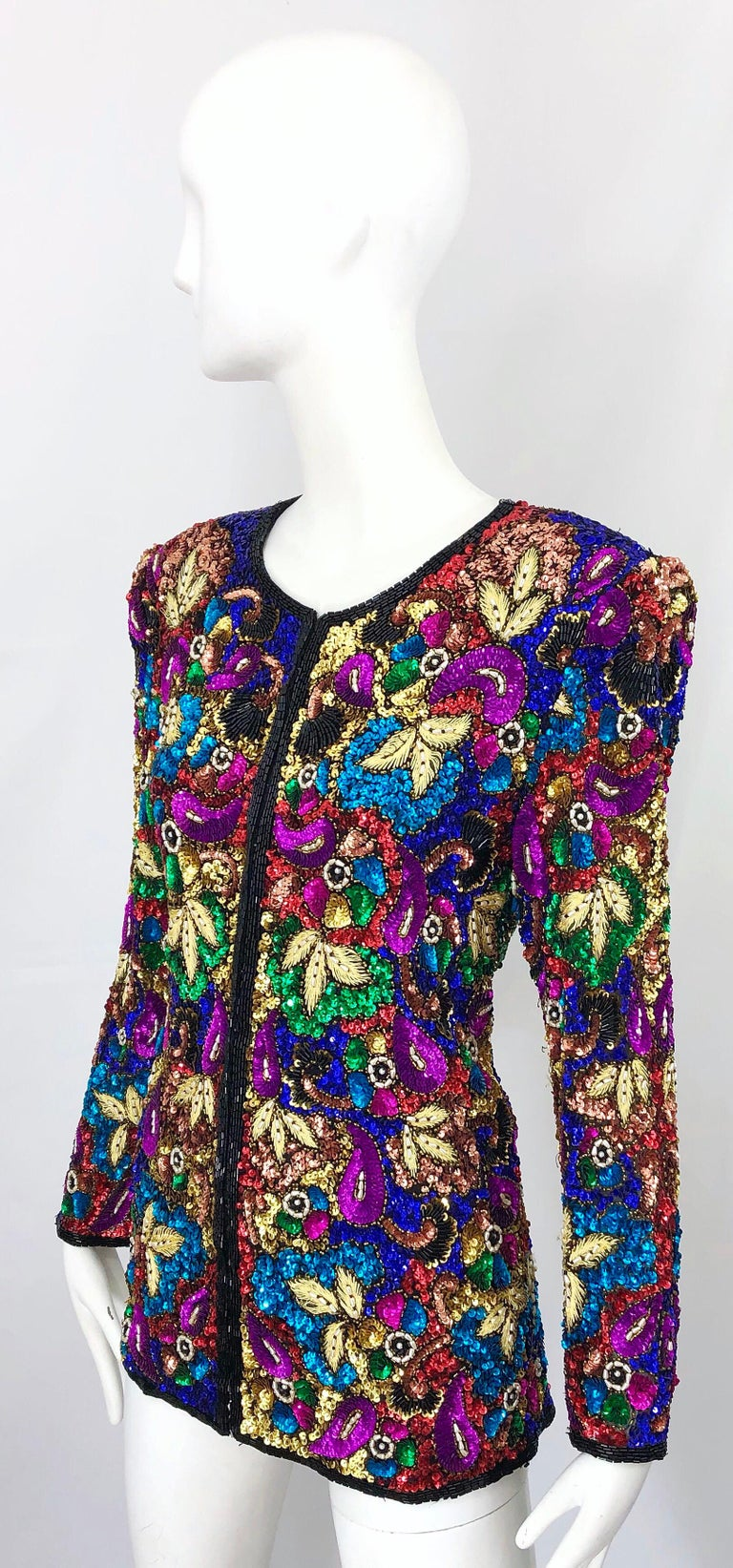 Vintage Swee Lo 1990s Fully Sequined Stained Glass Beaded Vintage Silk Jacket  For Sale 4