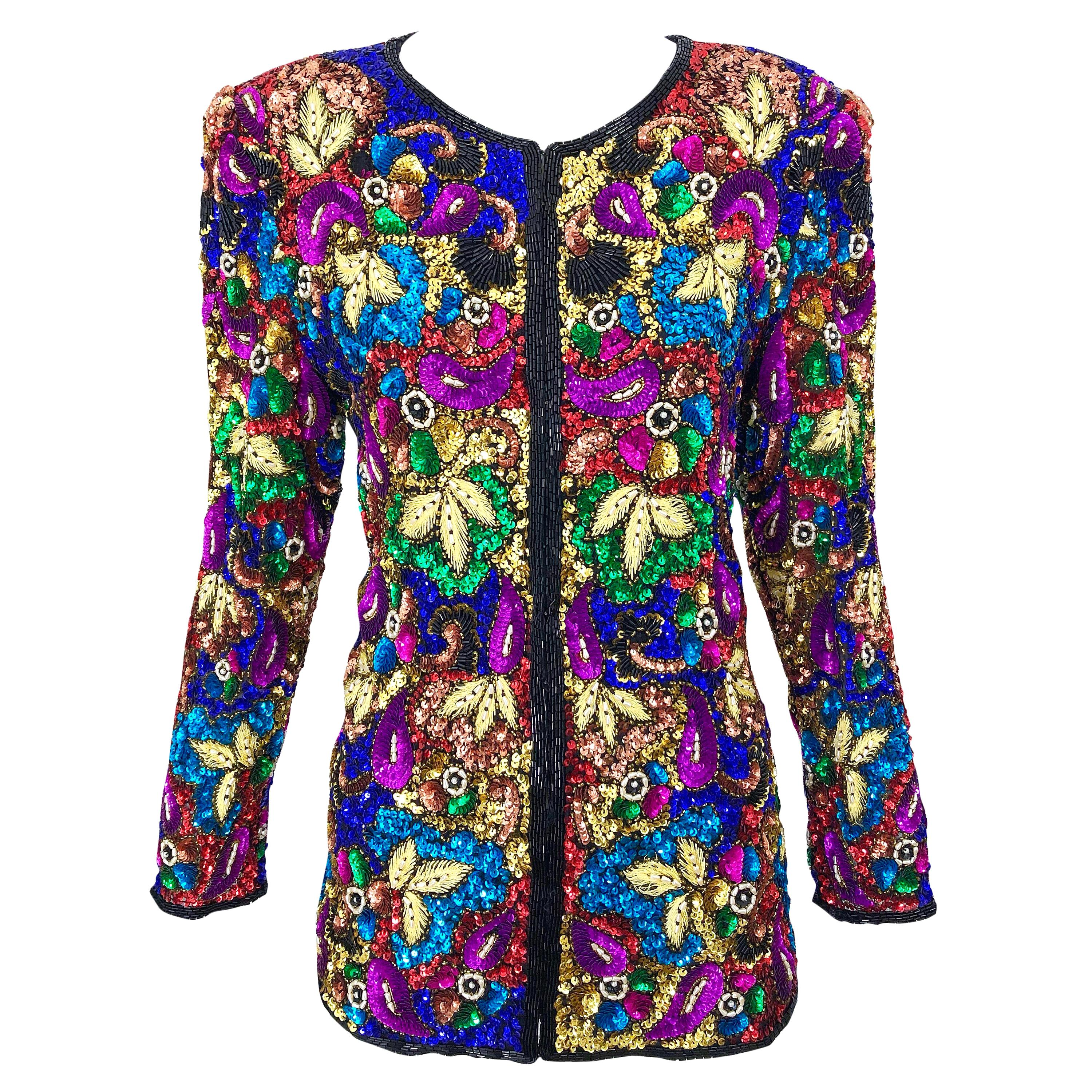 Vintage Swee Lo 1990s Fully Sequined Stained Glass Beaded Vintage Silk Jacket