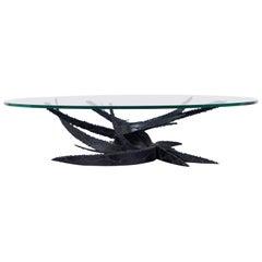 "Vintage ""Swirl"" Glass Coffee Table by Daniel Gluck"