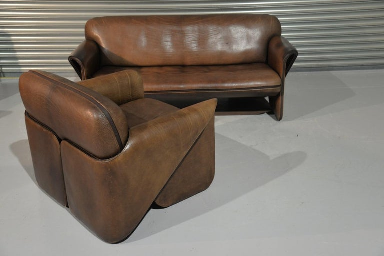 Mid-Century Modern Vintage De Sede 'DS 125' Sofa and Armchair by Gerd Lange, Switzerland 1978 For Sale