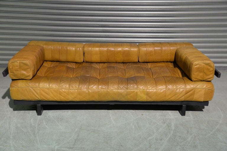 Discounted airfreight for our US and International customers ( from 2 weeks door to door)  We are delighted to bring to you an extremely rare original De Sede DS 80 daybed with full set of bolster patchwork cushions. Hand built in the 1960s to