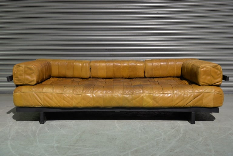Mid-Century Modern Vintage Swiss De Sede DS 80 Patchwork Leather Daybed, 1960s For Sale