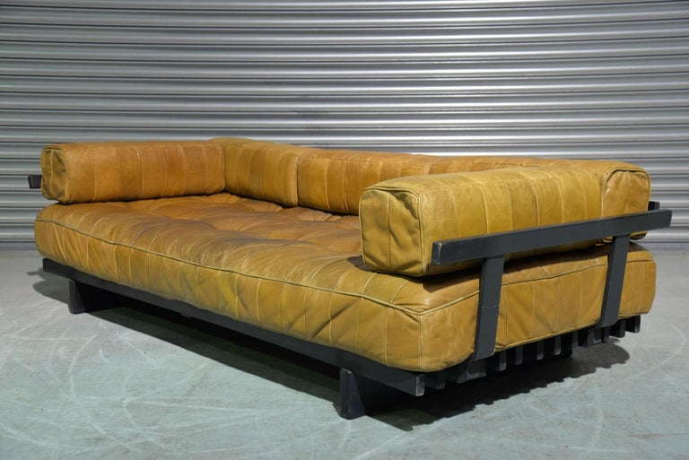 Vintage Swiss De Sede DS 80 Patchwork Leather Daybed, 1960s In Good Condition For Sale In Fen Drayton, Cambridgeshire