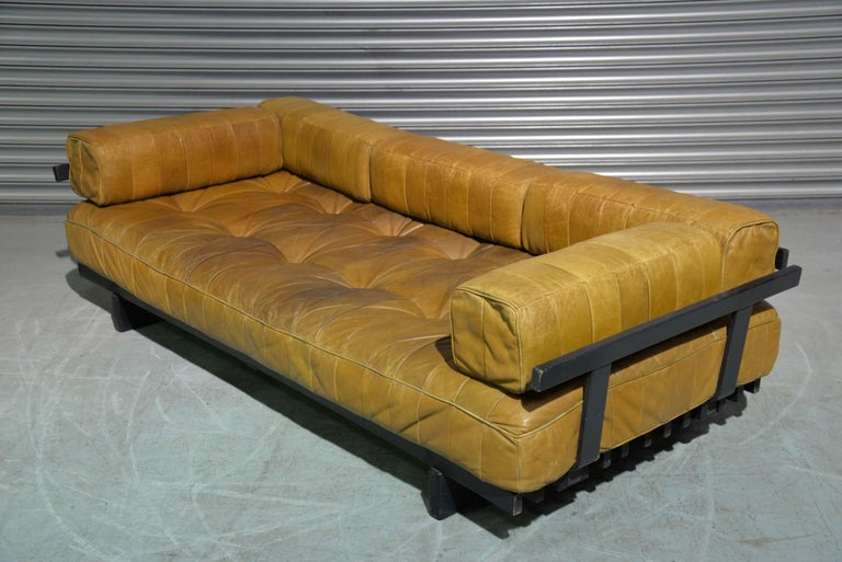 Mid-20th Century Vintage Swiss De Sede DS 80 Patchwork Leather Daybed, 1960s For Sale