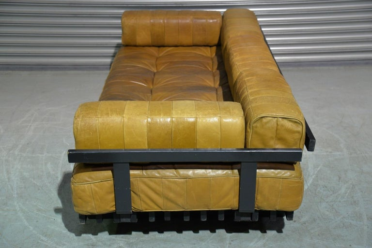 Wood Vintage Swiss De Sede DS 80 Patchwork Leather Daybed, 1960s For Sale