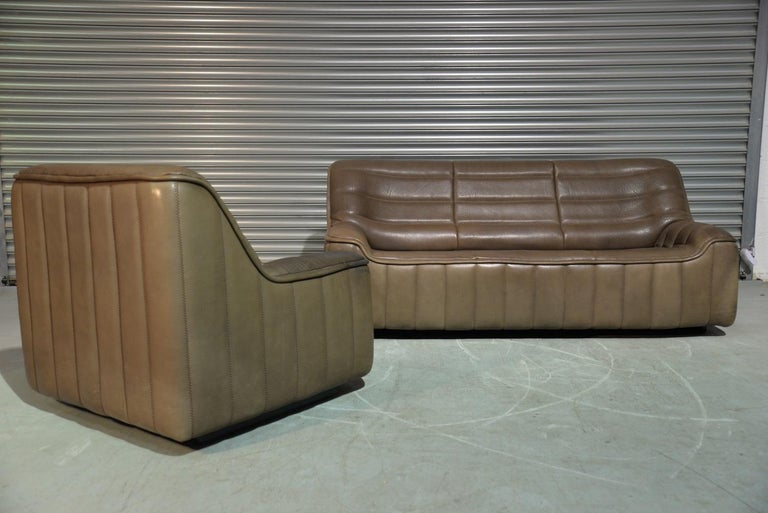 Discounted airfreight for our US and International customers (from 2 weeks door to door)  An ultra rare vintage De Sede DS 84 3-seat sofa and matching armchair. Hand built in the 1970s by de Sede craftsman in Switzerland, these pieces are
