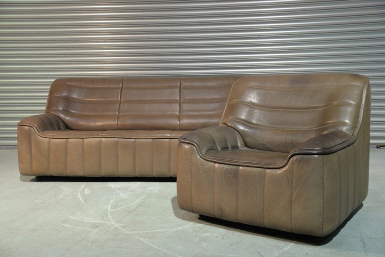 Mid-Century Modern Vintage Swiss De Sede Ds 84 Leather Sofa and Armchair, Switzerland, 1970s For Sale