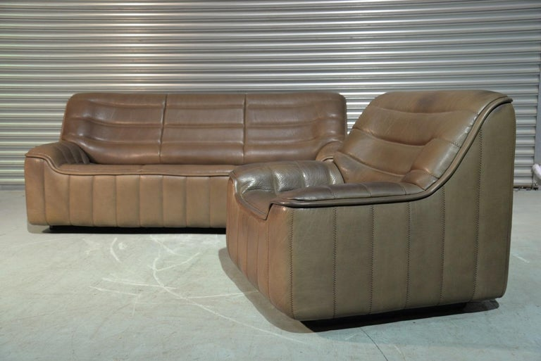 Vintage Swiss De Sede Ds 84 Leather Sofa and Armchair, Switzerland, 1970s In Good Condition For Sale In Fen Drayton, Cambridgeshire