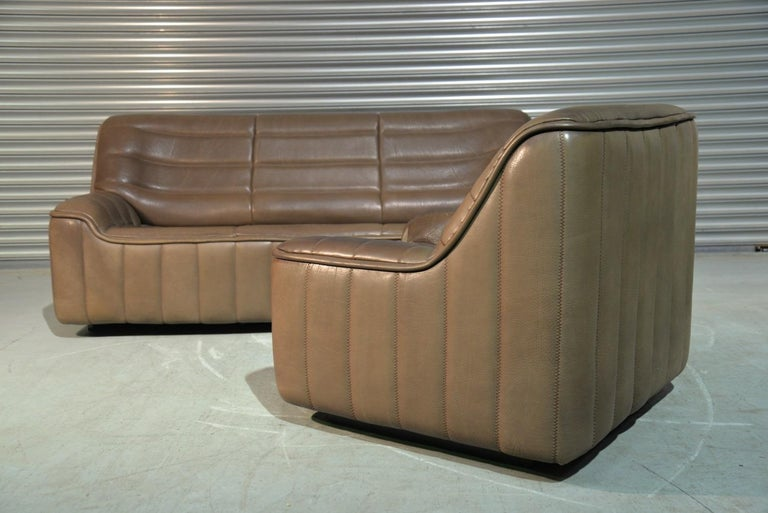 Late 20th Century Vintage Swiss De Sede Ds 84 Leather Sofa and Armchair, Switzerland, 1970s For Sale