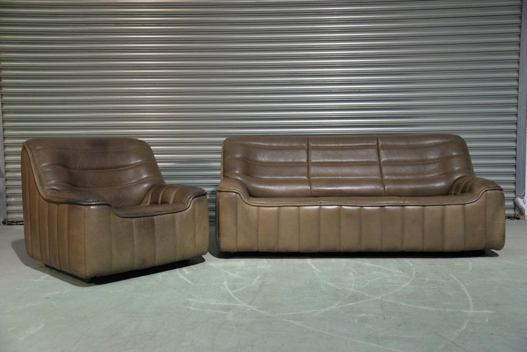 Leather Vintage Swiss De Sede DS 84 leather sofa and armchair, Switzerland 1970s For Sale