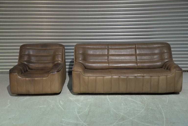 Vintage Swiss De Sede DS 84 leather sofa and armchair, Switzerland 1970s For Sale 1