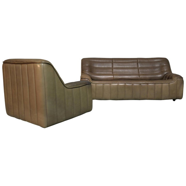 Vintage Swiss De Sede Ds 84 Leather Sofa and Armchair, Switzerland, 1970s For Sale