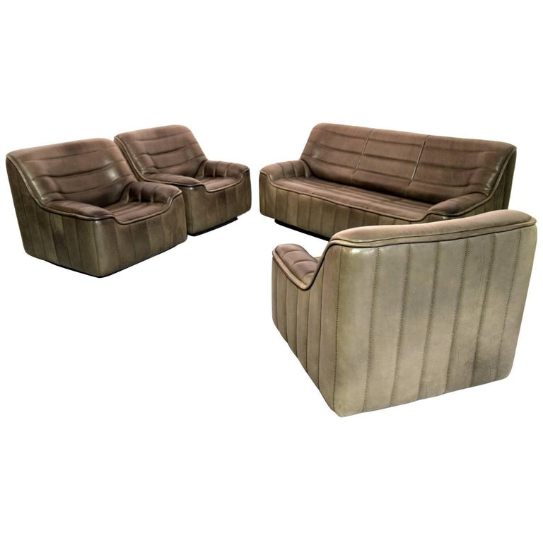 Vintage Swiss De Sede DS 84 leather sofa and armchairs suite, Switzerland 1970s