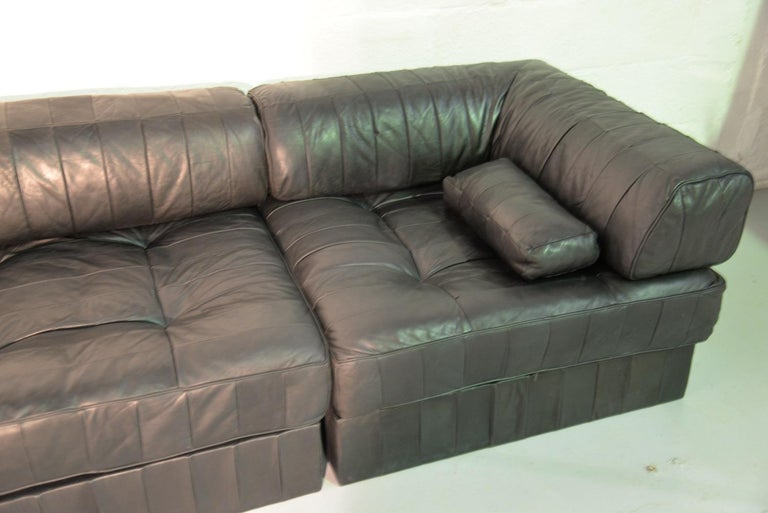 Vintage De Sede Ds 88 Patchwork Leather Sofa and Daybed, Switzerland 1960s In Good Condition For Sale In Fen Drayton, Cambridgeshire
