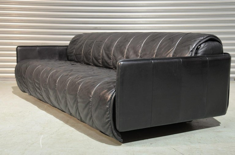 Vintage Swiss De Sede Patchwork Leather Sofa / Daybed, 1970s For Sale 3