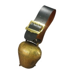 Vintage Swiss Handforged Cow Bell with Leather Strap, ca. 1920