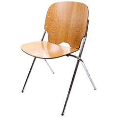 Vintage Industrial Plywood Stacking Chair by Embru Switzerland 1960's