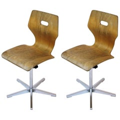 Vintage Swiss Made Height Adjustable Childrens School Chair by Embru, 1960