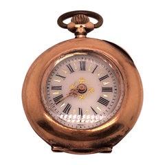 Vintage Swiss Made Pocket Watch 14 Karat Yellow Gold Engraved Case