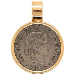 Vintage Swiss Rappen Coin Gold Pendant Estate Fine Jewelry