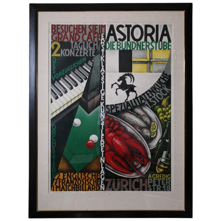 """Vintage Swiss Stone Lithographic Poster Custom Framed """"Astoria"""""""