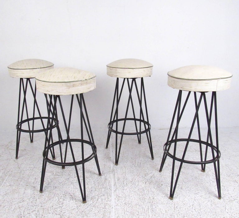 Astonishing Vintage Swivel Bar Stools With Hairpin Legs After Frederick Gmtry Best Dining Table And Chair Ideas Images Gmtryco