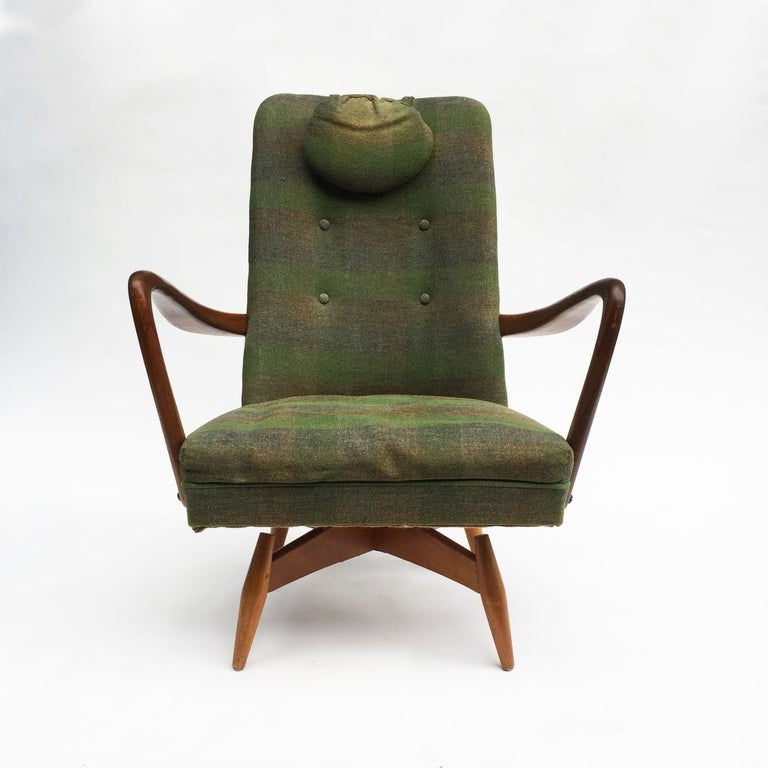 Danish Mid-Century Modern Swivel Teak Vintage Armchair with Green Tartan, 1950s wing For Sale