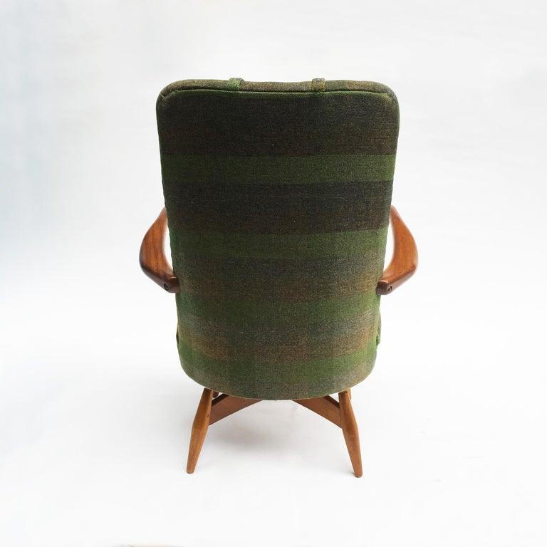 Mid-20th Century Mid-Century Modern Swivel Teak Vintage Armchair with Green Tartan, 1950s wing For Sale