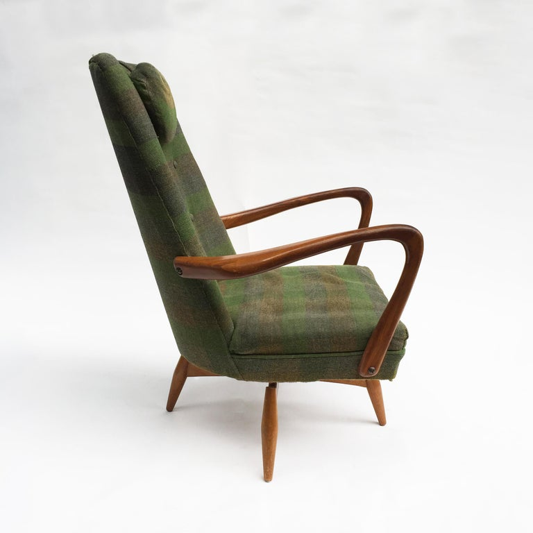Fabric Mid-Century Modern Swivel Teak Vintage Armchair with Green Tartan, 1950s wing For Sale