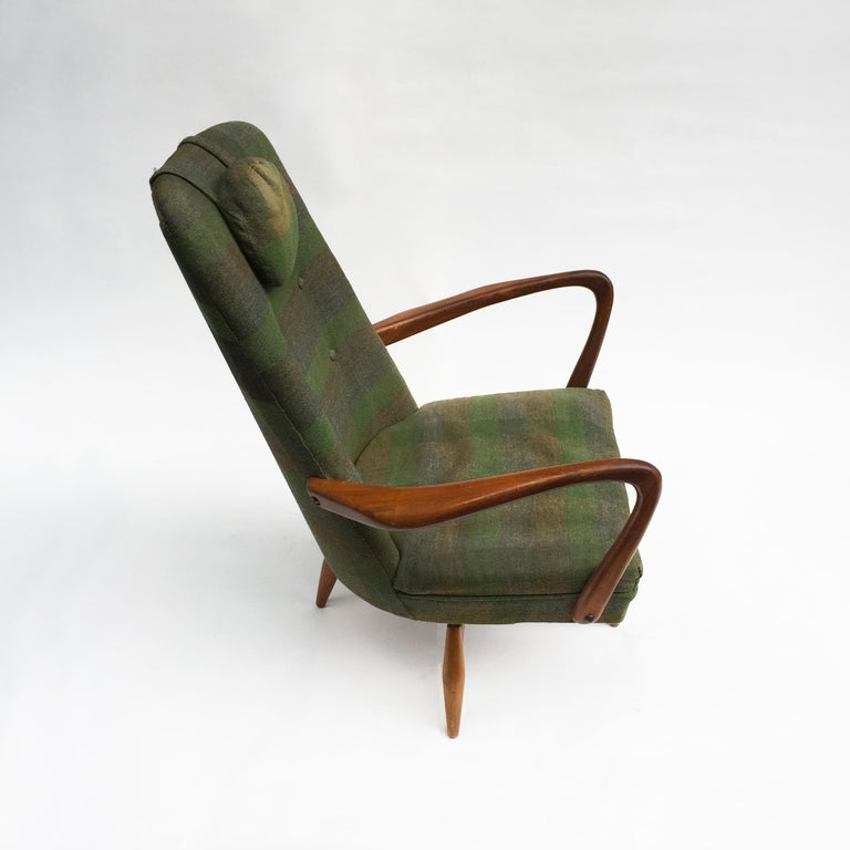 Mid-Century Modern Swivel Teak Vintage Armchair with Green Tartan, 1950s wing For Sale 1