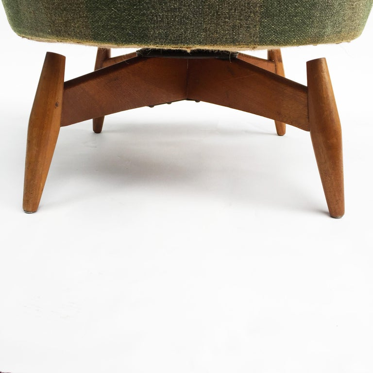 Mid-Century Modern Swivel Teak Vintage Armchair with Green Tartan, 1950s wing For Sale 3