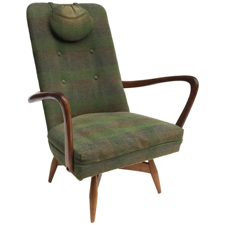 Mid-Century Modern Swivel Teak Vintage Armchair with Green Tartan, 1950s wing For Sale