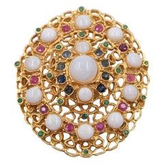 Vintage Swoboda Opal Gemstones Brooch 1960's