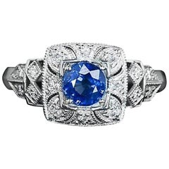 Blue Sapphire Diamond Millgrain Solitaire Ring