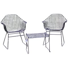 Vintage Table and Chairs by Harry Bertoia for Knoll, Set of 3