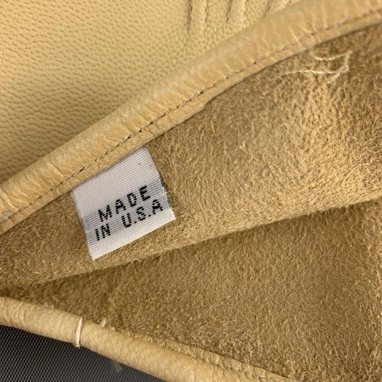 Men's VINTAGE Table Cut Size 9 Khaki Leather Gloves For Sale
