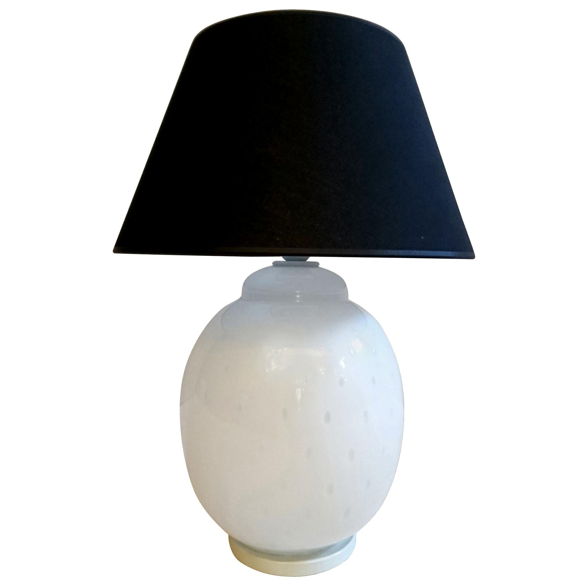 Vintage Table Lamp in White Glass by Barovier, Italy