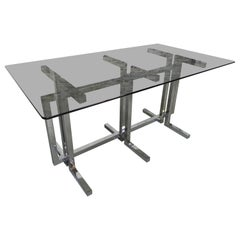 Vintage Table with Glass Top and Chromed Base